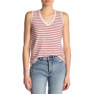 Madewell Theresa V-Neck Red Stripe Tank Top